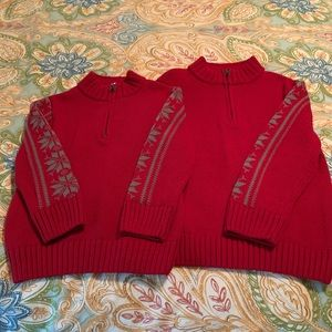 Boys matching sweaters. Size 3/4 and 5/6.
